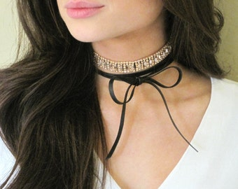 Rose Gold Choker, Sparkly Choker, Crystal Choker, Layered Choker, Choker Layered, Leather Choker, Bow Necklace, Womens Gift, Ready To Ship