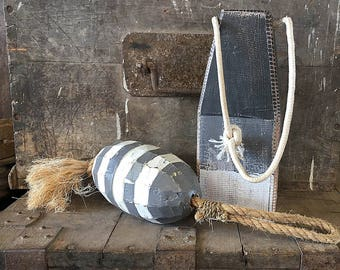 Coastal Decor Set White Grey Lobster Buoy Nautical Wooden by SEASTYLE