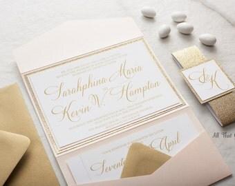 Blush Wedding Invitation suite, Glitter Wedding Invitations, Champagne Wedding Invitations, Custom Wedding Invitations, Sarahphina