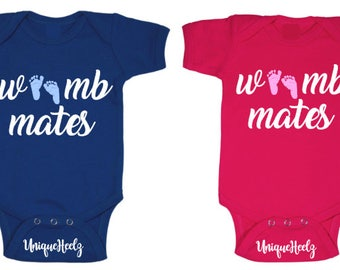 Womb Mates - body suit - adorable - Twins boy & girl - cute onesies - baby shower gift - baby announcement - Gender Reveal - vinyl NOT paint