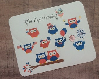 Independence Day Owls Stickers