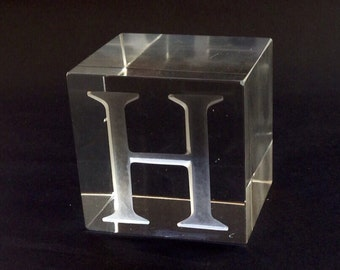 Clear Glass Paperweight/Bookend Cube, Monogram Initial H