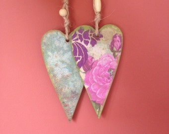 Set of Two Wooden House Decoration Decoupaged Wall Hangings Little Heart