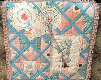 Hand Quilted Embellished Vintage Pink and Blue Quilt Wall Hanging