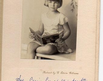Antique Photo In Folder Edwardian Girl Bobbed Hair Reading Book Los Angeles Studio Portrait Of A Child Fashion Photograph Bibliophilia