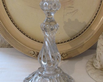 Superb exceptionally large antique French gorgeous large glass candle holder, stick.  Romantic cottage chic.