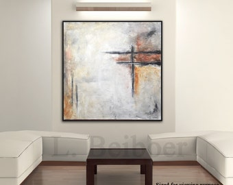 Large original painting 36 x 36 square abstract fine art painting sienna raw wall art modern oil painting by L.Beiboer