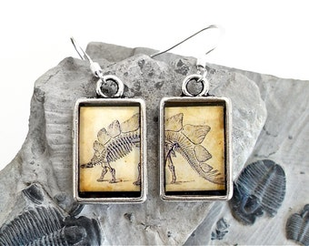 Dinosaur Earrings - Stegosaurus - DOUBLE-SIDED Dino Dangle Earrings in Silver