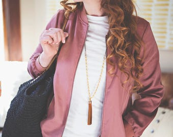 Leather Tassel Long Necklace Camel Brown and Cream