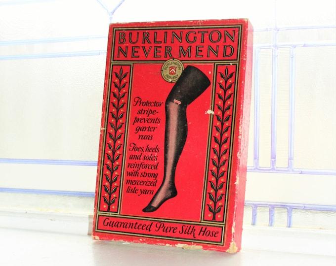 Antique Silk Stockings Box Store Display Burlington Never Mend Silk Hose
