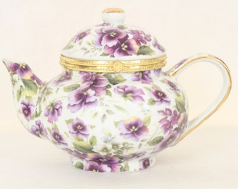 Formalities by Baum Bros Trinket Box Hinged Lid Purple Pansies Pansy Teapot Jewelry Box for Her Purple Flowers