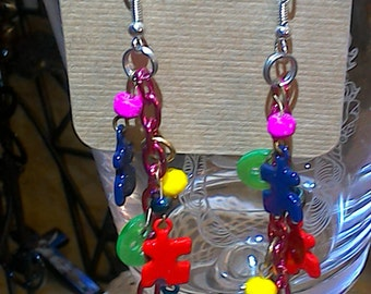 Bold Puzzle N Buttons Dangle Earrings