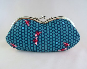 Glasses Case Bee- Teal Pink - Eye Glass Case - Sunglasses Case - Cute Glasses Case - Bee Gifts - Sunglass Case - Glasses Case Kiss Lock