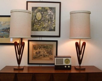 Mid Century Modern, vintage, danish, ceramic and walnut pair of lamps