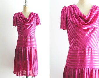 Vintage 1970s 1980s Pink Party Dress 70s Hot Pink Striped Dress 80s Cowl Neck Pink Dress Pink 80s Dress Pink Dropwaist Dress Medium S