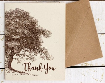 oak tree thank you card - woodland thank you - vintage oak greeting card- rustic thank you note card - thank you note - single thank you