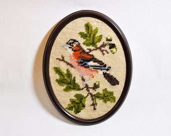Vintage Thornbird Needlework Embroidery Wall Hanging Oval Framed Cross Stitch Wall Art