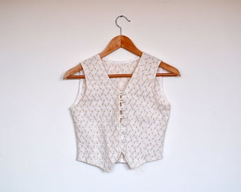 Vintage Cream Cotton Cropped Vest Romantic Peekaboo Button Up Waistcoat