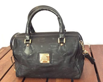 Vintage Authentic HCL Black Leather Shoulder Satchel Bag