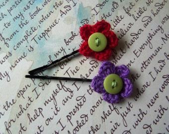 Purple and Red Crochet Flower Hair Pins. Handmade Hair Pins.