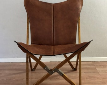 Tripolina Butterfly Chair   Premium Leather And Wood Folding Frame Chairs