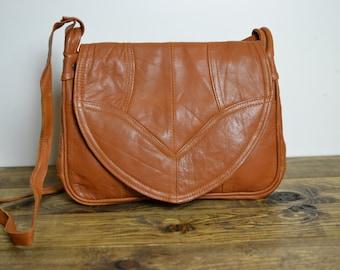 Vintage Leather Saddle Bag - Crossbody Tan Lightweight Leather Purse NOS