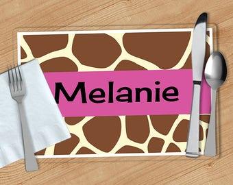 Giraffe Print -  Personalized Placemat, Customized Placemats, Custom Placemat, Personalized Gift