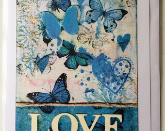 lOVE - A5 Blank Greetings Card From Original Mixed Media Collage/Painting