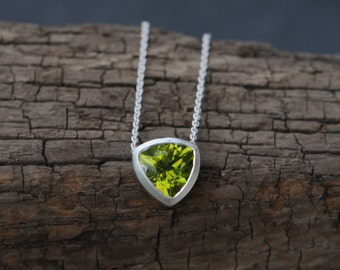 Green Gemstone Pendant Peridot Trillion Necklace Green Gem Trillion Pendant Triangle Necklace Apple Green Peridot Necklace READY TO SHIP