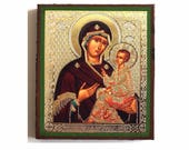 Russian Icon Our lady of Kazan. Russian Icon Madonna and Child. Tikhvin Mother of God.