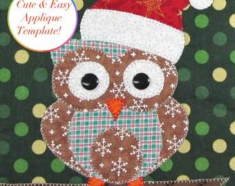 Christmas Applique Designs, Owl Applique Template, Owl Applique Designs, Owl Applique Pattern, Christmas Owl Template