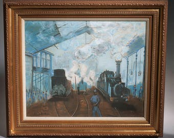 Claude Monet OOC Painting Reproduction Arrival at Saint-Lazare Station