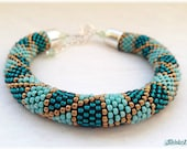 Teal mint bronze bead crocheted bracelet - geometric pattern