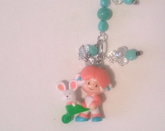 Strawberry Shortcake Apricot and Hopsalot Rearview Mirror Charm Keychain Gift Ooak Small Figurine Toy Cute Bag Car Accessory
