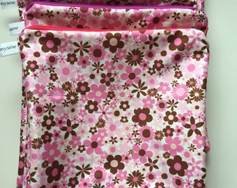 Small Pink Floral Wet Bag In Stock, Ready to Ship