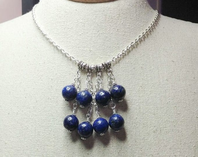 Lapis Chain necklace with large Lapis Lazuli beads.