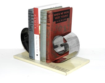 Art Deco Style Metal Coil Bookend- Scroll Bookend