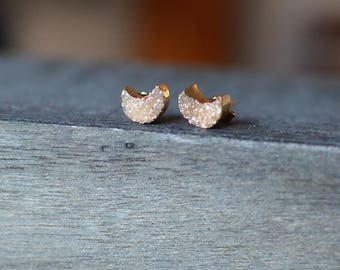 Moon Druzy Stud Earrings