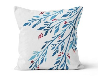 Pillow Cover, Blue Leaves Red Berries, Original Watercolour Art, Throw Pillow Case w/optional insert