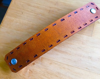 Plain Leather Barrette with Faux Stitching in Santa Fe Brown