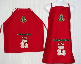 Adult and Child Size Red Cotton Holiday Apron with Front Pocket,Christmas Bear and Tree Sequin Appliques and Ties waist and Neck. New