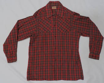 50s Towncraft Shirt Size S Loop Collar Selvedge Red Plaid Boyfriend Top Vintage