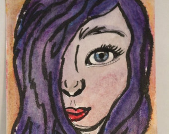 Beautiful Girl Aceo- watercolor-tiny art-