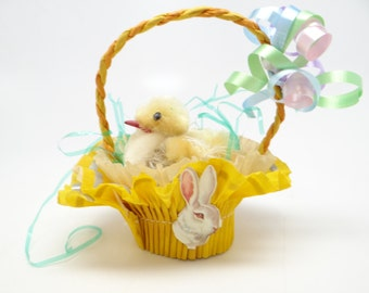 Vintage 1950's Easter Basket Candy Container with Little  Chenille Chick, Party Favor