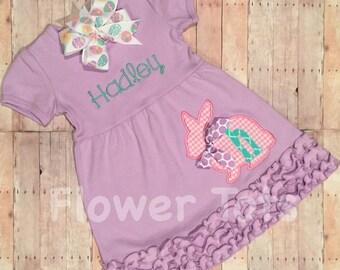 Girl's Easter Bunny Dress - Easter, personalized, applique, monogram, custom, Easter eggs, Easter dress