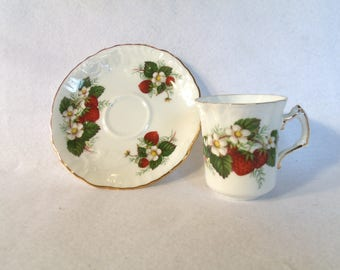 "Hammersly ""Strawberry Ripe"" Demitasse Teacup and Saucer"