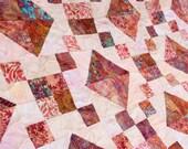 Batik Patchwork Quilt, Topaz Trellis, Queen / King Size Handmade by PingWynny
