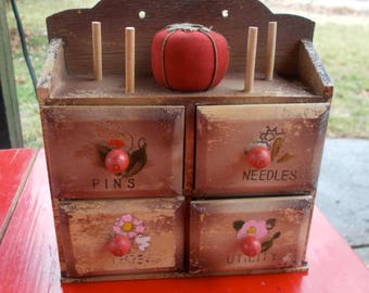 Miniature Sewing Cabinet Vintage restoration project Four Drawers four Thread spindles one needle tomato  Repurpose Craft