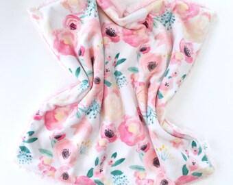 Blush White Baby Lovey, Baby blanket, Baby security blanket, lovie, blankie, baby shower gift, newborn gift, minky blanket, pink baby girl