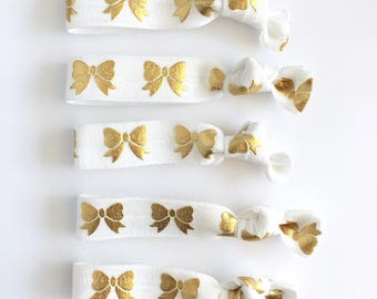 White with gold bows elastic hair ties, hair bow hair tie, foe, party favor, birthday favor,bachelorette party, bridesmaid